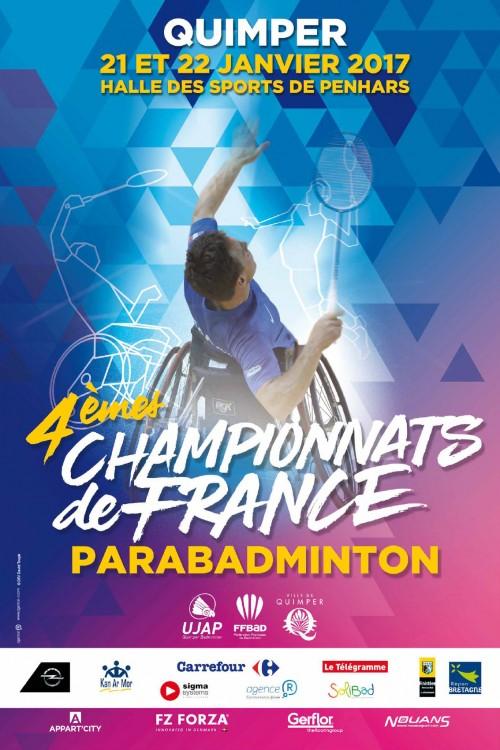Affiche Championnat de France de Parabadminton 2017 à Quimper